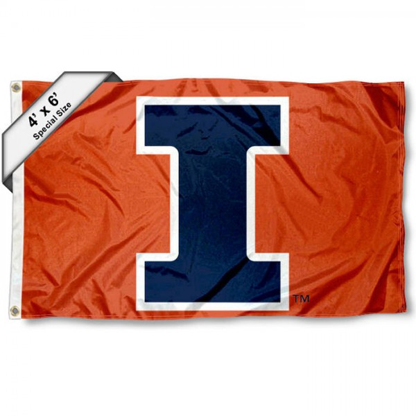 Illinois Fighting Illini Large 4x6 Flag measures 4x6 feet, is made thick woven polyester, has quadruple stitched flyends, two metal grommets, and offers screen printed NCAA Illinois Fighting Illini Large athletic logos and insignias. Our Illinois Fighting Illini Large 4x6 Flag is officially licensed by Illinois Fighting Illini and the NCAA.