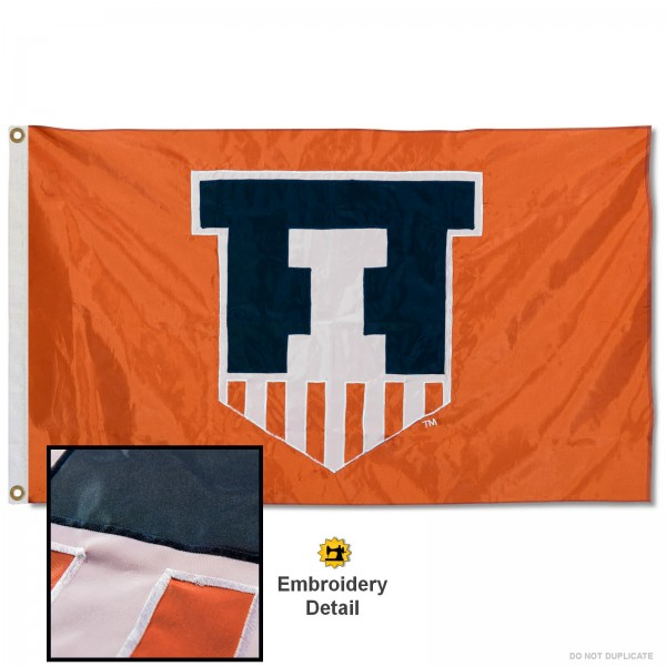 Illinois Fighting Illini Nylon Embroidered Flag measures 3'x5', is made of 100% nylon, has quadruple flyends, two metal grommets, and has double sided appliqued and embroidered University logos. These Illinois Fighting Illini 3x5 Flags are officially licensed by the selected university and the NCAA.