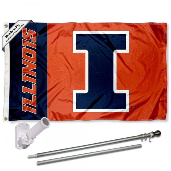 Our Illinois Fighting Illini Panel Flag Pole and Bracket Kit includes the flag as shown and the recommended flagpole and flag bracket. The flag is made of polyester, has quad-stitched flyends, and the NCAA Licensed team logos are double sided screen printed. The flagpole and bracket are made of rust proof aluminum and includes all hardware so this kit is ready to install and fly.