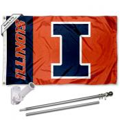 Illinois Fighting Illini Panel Flag Pole and Bracket Kit