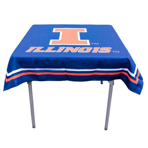 Illinois Fighting Illini Table Cloth measures 48 x 48 inches, is made of 100% Polyester, seamless one-piece construction, and is perfect for any tailgating table, card table, or wedding table overlay. Each includes Officially Licensed Logos and Insignias.