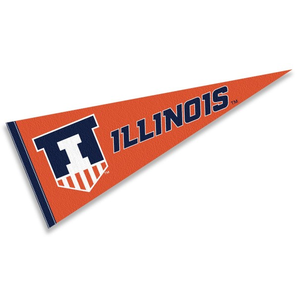 Illinois Fighting Illini Victory Badge Pennant consists of our full size sports pennant which measures 12x30 inches, is constructed of felt, is single sided imprinted, and offers a pennant sleeve for insertion of a pennant stick, if desired. This Illinois Fighting Illini Pennant Decorations is Officially Licensed by the selected university and the NCAA.