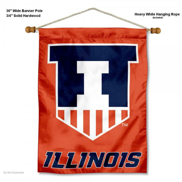 "Illinois Fighting Illini Wall Banner is constructed of polyester material, measures a large 30""x40"", offers screen printed athletic logos, and includes a sturdy 3/4"" diameter and 36"" wide banner pole and hanging cord. Our Illinois Fighting Illini Wall Banner is Officially Licensed by the selected college and NCAA."