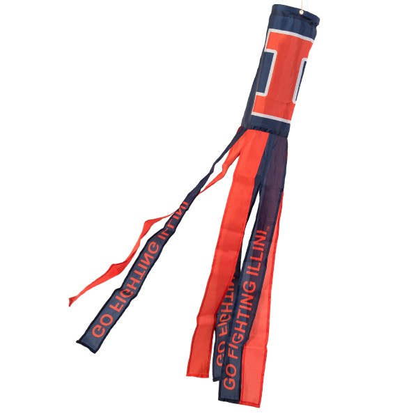 "Illinois Fighting Illini Windsock measures 40"" in length by 5"" in width, is made of 100% polyester, offers screen printed NCAA team logos, team names and insignias, has 6 alternative colored streamers and tails, includes a double stringed bridle and hanging swivel clip, and our Illinois Fighting Illini Windsock is authentic, licensed, and approved by the selected university or team."