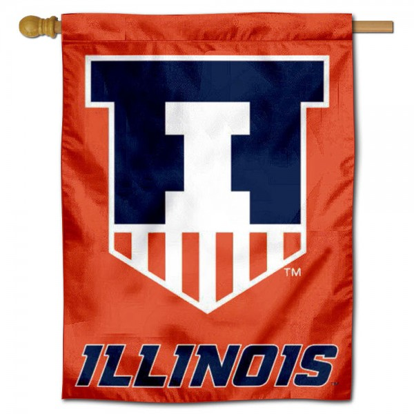 """Illinois Illini Victory Badge Crest Banner Flag is constructed of polyester material, is a vertical house flag, measures 30""""x40"""", offers screen printed athletic insignias, and has a top pole sleeve to hang vertically. Our Illinois Illini Victory Badge Crest Banner Flag is Officially Licensed by University of Illinois and NCAA."""