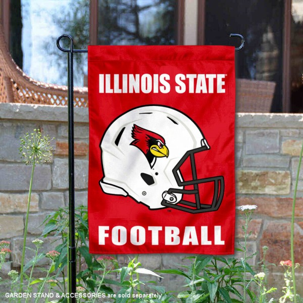 Illinois State Redbirds Helmet Yard Garden Flag is 13x18 inches in size, is made of 2-layer polyester with Liner, screen printed university athletic logos and lettering, and is readable and viewable correctly on both sides. Available same day shipping, our Illinois State Redbirds Helmet Yard Garden Flag is officially licensed and approved by the university and the NCAA.