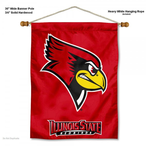 """Illinois State Redbirds Wall Banner is constructed of polyester material, measures a large 30""""x40"""", offers screen printed athletic logos, and includes a sturdy 3/4"""" diameter and 36"""" wide banner pole and hanging cord. Our Illinois State Redbirds Wall Banner is Officially Licensed by the selected college and NCAA."""