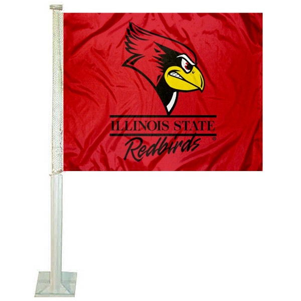Illinois State University Car Flag measures 12x15 inches, is constructed of sturdy 2 ply polyester, and has dye sublimated school logos which are readable and viewable correctly on both sides. Illinois State University Car Flag is officially licensed by the NCAA and selected university.