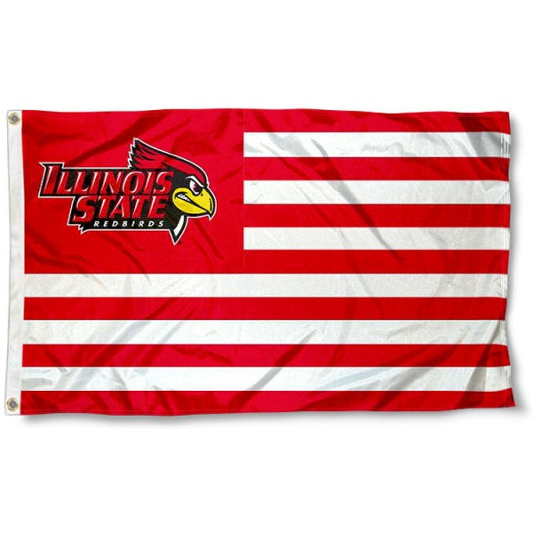 Illinois State University Stripes Flag measures 3'x5', is made of polyester, offers double stitched flyends for durability, has two metal grommets, and is viewable from both sides with a reverse image on the opposite side. Our Illinois State University Stripes Flag is officially licensed by the selected school university and the NCAA.