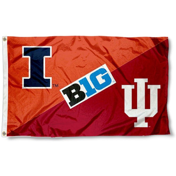 Illinois vs. Indiana House Divided 3x5 Flag sizes at 3x5 feet, is made of 100% polyester, has quadruple-stitched fly ends, and the university logos are screen printed into the Illinois vs. Indiana House Divided 3x5 Flag. The Illinois vs. Indiana House Divided 3x5 Flag is approved by the NCAA and the selected universities.