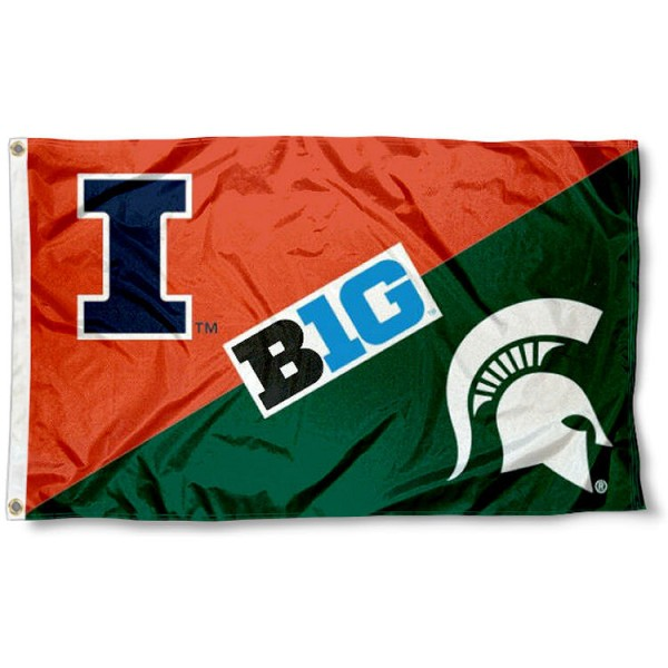 Illinois vs. Michigan State House Divided 3x5 Flag sizes at 3x5 feet, is made of 100% polyester, has quadruple-stitched fly ends, and the university logos are screen printed into the Illinois vs. Michigan State House Divided 3x5 Flag. The Illinois vs. Michigan State House Divided 3x5 Flag is approved by the NCAA and the selected universities.