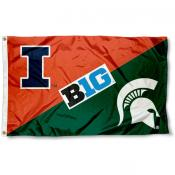 Illinois vs. Michigan State House Divided 3x5 Flag