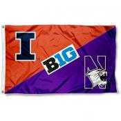 Illinois vs. Northwestern House Divided 3x5 Flag