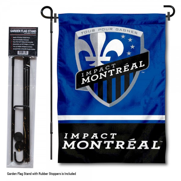 "Impact Montreal Garden Flag and Flagpole Stand kit includes our 12.5""x18"" garden banner which is made of 2 ply poly with liner and has screen printed licensed logos. Also, a 40""x17"" inch garden flag stand is included so your Impact Montreal Garden Flag and Flagpole Stand is ready to be displayed with no tools needed for setup. Fast Overnight Shipping is offered and the flag is Officially Licensed and Approved by the selected team."