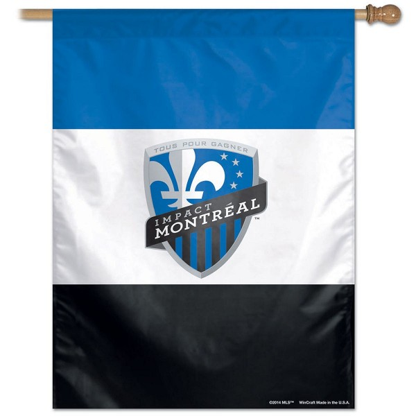 Impact Montreal House Flag measures 27x37 inches in size, is constructed of polyester, has screen printed logos, and is viewable on both sides. Our Impact Montreal House Flag provides a top pole sleeve to hang vertically and is a genuine product.