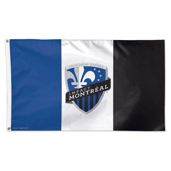 Impact Montreal MLS Flag measures 3x5 feet and offers quadruple stitched flyends. Impact Montreal MLS Flag is made of polyester, has two metal grommets, and is viewable from both sides with the opposite side being a reverse image. This Impact Montreal MLS Flag is Officially Licensed by the Impact Montreal and the MLS.