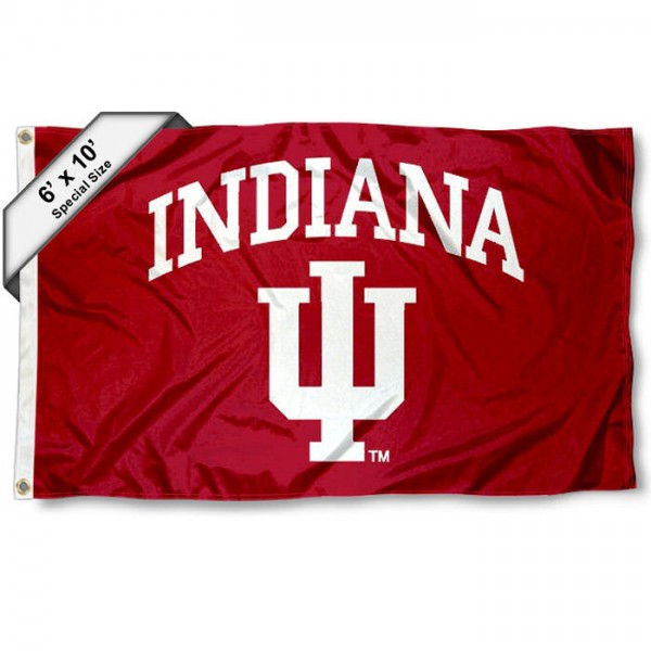 Indiana Hoosiers 6'x10' Flag measures 6x10 feet, is made of thick poly, has quadruple-stitched fly ends, and Indiana Hoosiers logos are screen printed into the Indiana Hoosiers 6'x10' Flag. This Indiana Hoosiers 6'x10' Flag is officially licensed by and the NCAA.