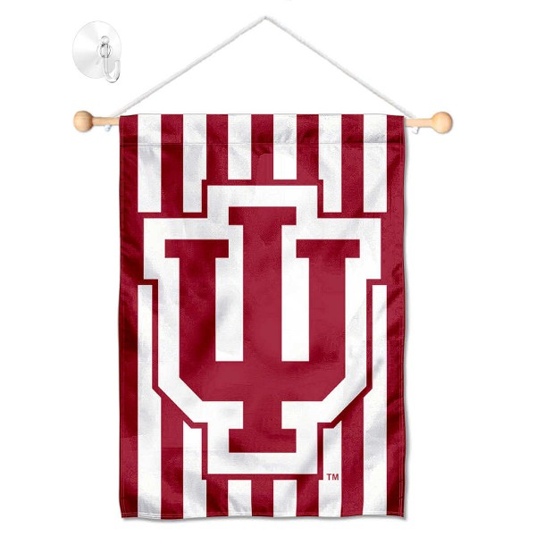 """Indiana Hoosiers Banner with Suction Cup kit includes our 13""""x18"""" garden banner which is made of 2 ply poly with liner and has screen printed licensed logos. Also, a 17"""" wide banner pole with suction cup is included so your Indiana Hoosiers Banner with Suction Cup is ready to be displayed with no tools needed for setup. Fast Overnight Shipping is offered and the flag is Officially Licensed and Approved by the selected team."""