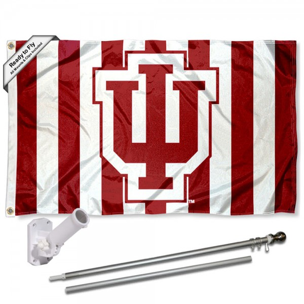Our Indiana Hoosiers Candy Stripe Flag Pole and Bracket Kit includes the flag as shown and the recommended flagpole and flag bracket. The flag is made of polyester, has quad-stitched flyends, and the NCAA Licensed team logos are double sided screen printed. The flagpole and bracket are made of rust proof aluminum and includes all hardware so this kit is ready to install and fly.