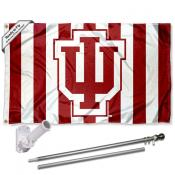 Indiana Hoosiers Candy Stripe Flag Pole and Bracket Kit