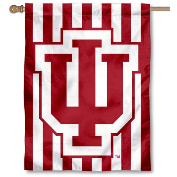 Indiana Hoosiers Candy Stripe House Flag is a vertical house flag which measures 30x40 inches, is made of 2 ply 100% polyester, offers screen printed NCAA team insignias, and has a top pole sleeve to hang vertically. Our Indiana Hoosiers Candy Stripe House Flag is officially licensed by the selected university and the NCAA.
