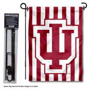 Indiana Hoosiers Candy Stripes Garden Flag and Pole Stand Mount