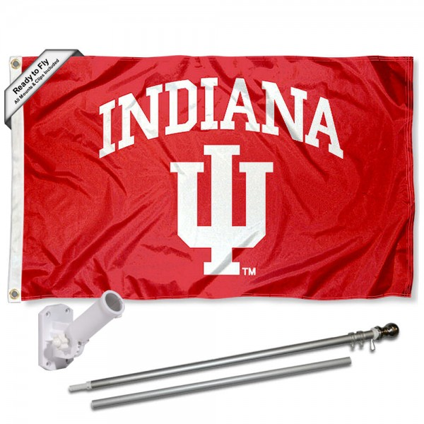 Our Indiana Hoosiers Flag Pole and Bracket Kit includes the flag as shown and the recommended flagpole and flag bracket. The flag is made of polyester, has quad-stitched flyends, and the NCAA Licensed team logos are double sided screen printed. The flagpole and bracket are made of rust proof aluminum and includes all hardware so this kit is ready to install and fly.