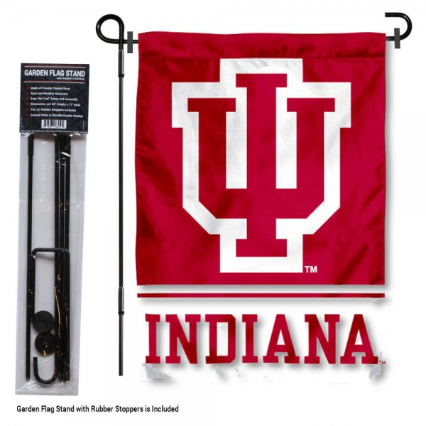 "Indiana Hoosiers Garden Flag and Stand kit includes our 13""x18"" garden banner which is made of 2 ply poly with liner and has screen printed licensed logos. Also, a 40""x17"" inch garden flag stand is included so your Indiana Hoosiers Garden Flag and Stand is ready to be displayed with no tools needed for setup. Fast Overnight Shipping is offered and the flag is Officially Licensed and Approved by the selected team."