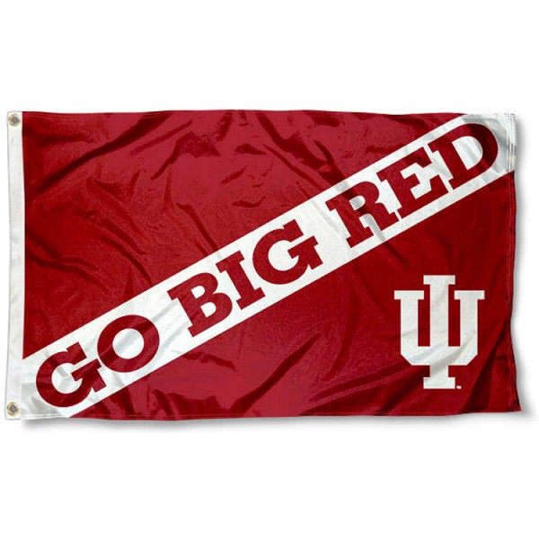 Indiana Hoosiers Go Big Red Flag measures 3'x5', is made of 100% poly, has quadruple stitched sewing, two metal grommets, and has double sided Team University logos. Our IU Hoosiers Flags is officially licensed by the selected university and the NCAA.