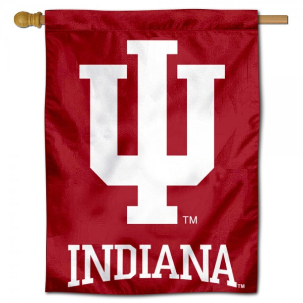 """Indiana Hoosiers Logo Banner Flag is constructed of polyester material, is a vertical house flag, measures 30""""x40"""", offers screen printed athletic insignias, and has a top pole sleeve to hang vertically. Our Indiana Hoosiers Logo Banner Flag is Officially Licensed by Indiana Hoosiers and NCAA."""