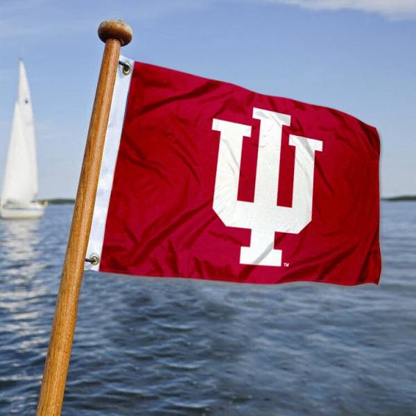 Indiana Hoosiers Nautical Flag measures 12x18 inches, is made of two-ply polyesters, offers quadruple stitched flyends for durability, has two metal grommets, and is viewable from both sides. Our Indiana Hoosiers Nautical Flag is officially licensed by the selected university and the NCAA and can be used as a motorcycle flag, golf cart flag, or ATV flag