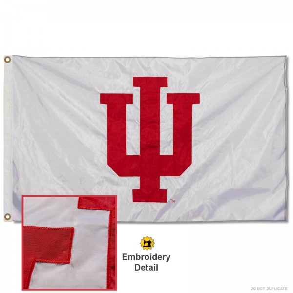 Indiana Hoosiers Nylon Embroidered Flag measures 3'x5', is made of 100% nylon, has quadruple flyends, two metal grommets, and has double sided appliqued and embroidered University logos. These Indiana Hoosiers 3x5 Flags are officially licensed by the selected university and the NCAA.