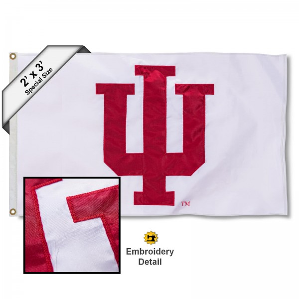 Indiana Hoosiers Small 2'x3' Flag measures 2x3 feet, is made of 100% nylon, offers quadruple stitched flyends, has two brass grommets, and offers embroidered IU Hoosier logos and insignias. Our Indiana Hoosiers Small 2'x3' Flag is officially licensed by the selected university.