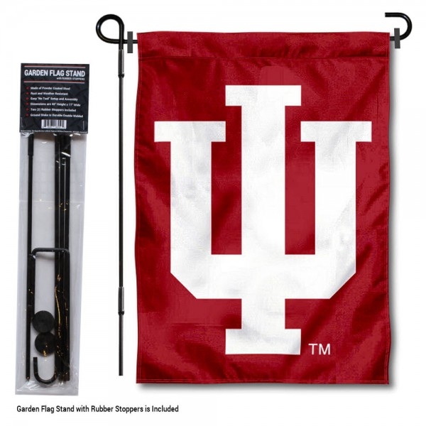 "Indiana Hoosiers Trident IU Garden Flag and Pole Stand Mount kit includes our 13""x18"" garden banner which is made of 2 ply poly with liner and has screen printed licensed logos. Also, a 40""x17"" inch garden flag stand is included so your Indiana Hoosiers Trident IU Garden Flag and Pole Stand Mount is ready to be displayed with no tools needed for setup. Fast Overnight Shipping is offered and the flag is Officially Licensed and Approved by the selected team."