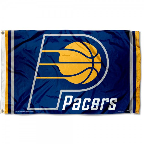 The Indiana Pacers Blue Team Flag is four-stitched bordered, double sided, made of poly, 3'x5', and has two grommets. These Indiana Pacers Blue Team Flags are NBA Genuine Merchandise.