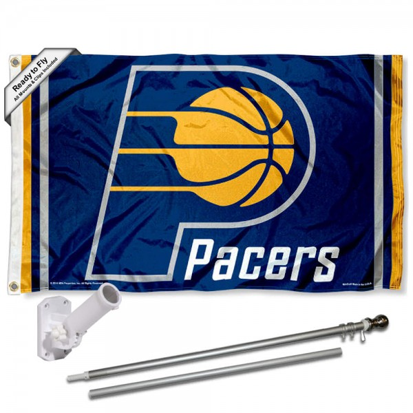 Our Indiana Pacers Flag Pole and Bracket Kit includes the flag as shown and the recommended flagpole and flag bracket. The flag is made of polyester, has quad-stitched flyends, and the NBA Licensed team logos are double sided screen printed. The flagpole and bracket are made of rust proof aluminum and includes all hardware so this kit is ready to install and fly.