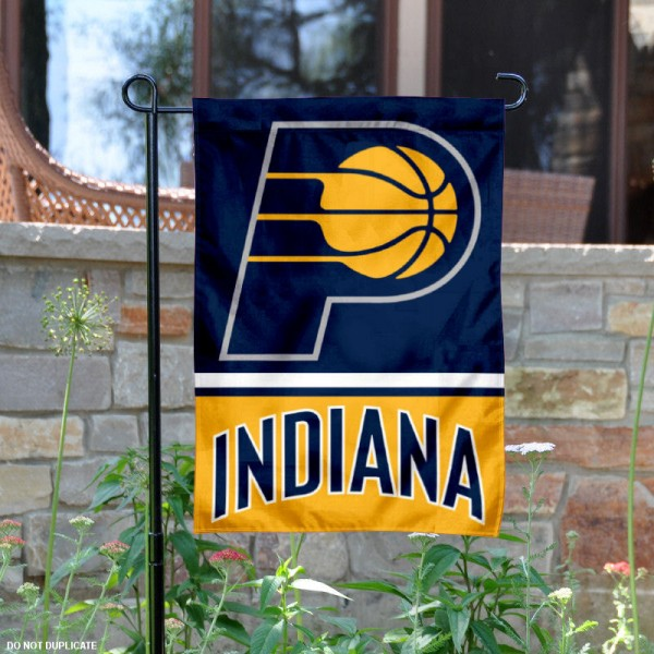 Indiana Pacers Garden Flag is 12.5x18 inches in size, is made of 2-ply polyester, and has two sided screen printed logos and lettering. Available with Express Next Day Shipping, our Indiana Pacers Garden Flag is NBA Genuine Merchandise and is double sided.
