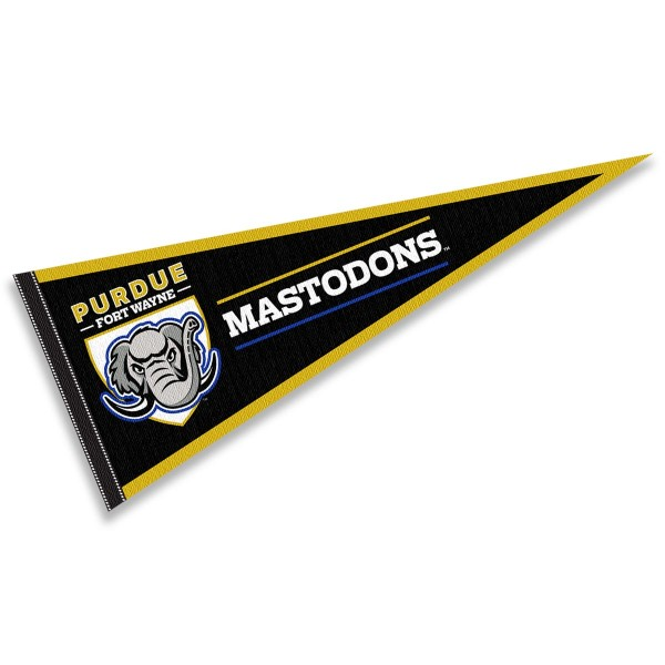 Indiana Purdue Mastodons Pennant consists of our full size sports pennant which measures 12x30 inches, is constructed of felt, is single sided imprinted, and offers a pennant sleeve for insertion of a pennant stick, if desired. This Indiana Purdue Mastodons Pennant Decorations is Officially Licensed by the selected university and the NCAA.