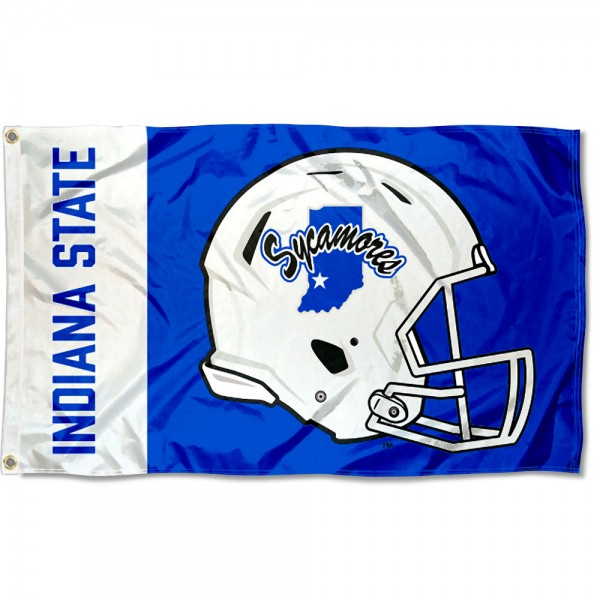 Indiana State Sycamores Football Helmet Flag measures 3x5 feet, is made of 100% polyester, offers quadruple stitched flyends, has two metal grommets, and offers screen printed NCAA team logos and insignias. Our Indiana State Sycamores Football Helmet Flag is officially licensed by the selected university and NCAA.
