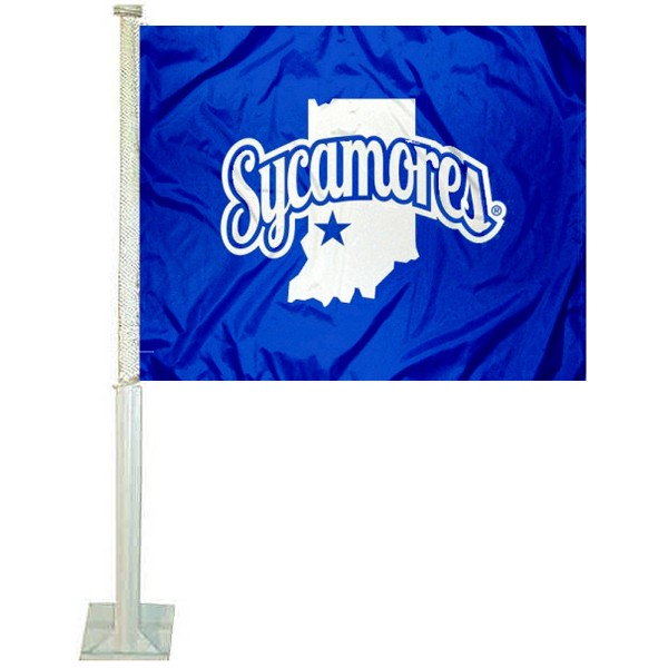 Indiana State University Car Window Flag measures 12x15 inches, is constructed of sturdy 2 ply polyester, and has dye sublimated school logos which are readable and viewable correctly on both sides. Indiana State University Car Window Flag is officially licensed by the NCAA and selected university.