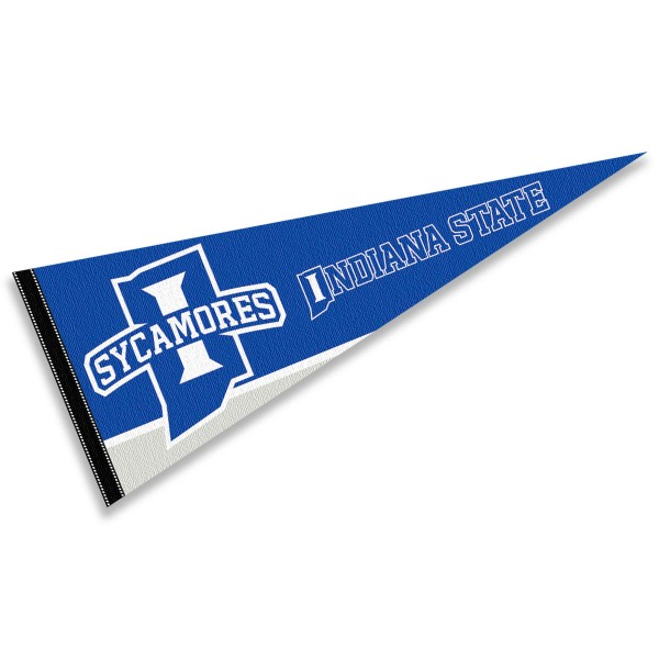 Indiana State University Pennant Decorations consists of our full size pennant which measures 12x30 inches, is constructed of felt, is single sided imprinted, and offers a pennant sleeve for insertion of a pennant stick, if desired. This Indiana State University Pennant Decorations is officially licensed by the selected university and the NCAA.