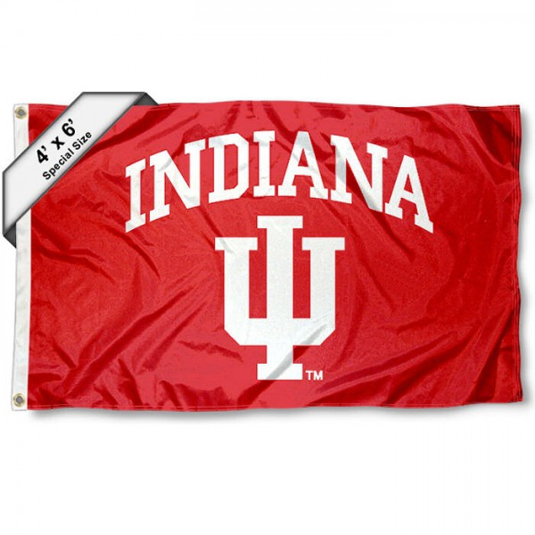 Indiana University 4x6 Flag measures 4x6 feet, is made thick woven polyester, has quadruple stitched flyends, two metal grommets, and offers screen printed NCAA Indiana University athletic logos and insignias. Our Indiana University 4x6 Flag is officially licensed by Indiana University and the NCAA.