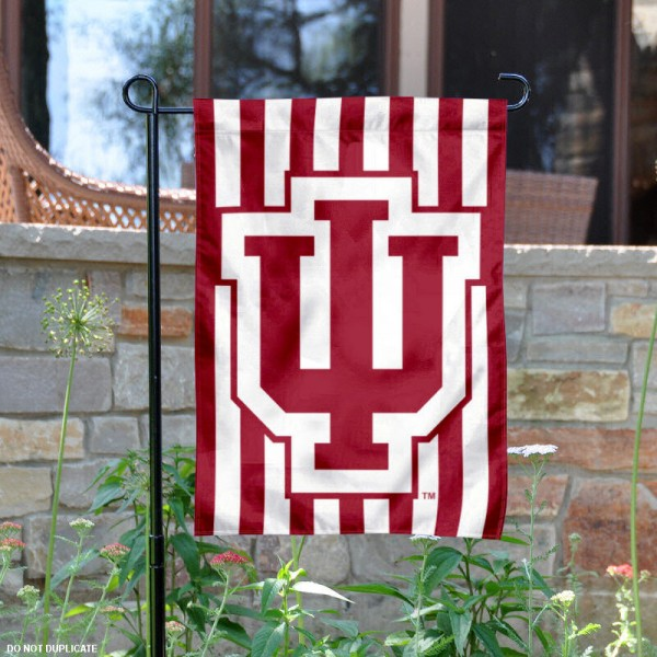 Indiana University Candy Stripe Garden Flag is 13x18 inches in size, is made of 2-layer polyester, screen printed IU Hoosiers athletic logos and lettering. Available with Same Day Express Shipping, Our Indiana University Candy Stripe Garden Flag is officially licensed and approved by IU Hoosiers and the NCAA.