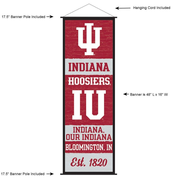"""This """"ready to hang"""" Indiana University Decor and Banner is made of polyester material, measures a large 17.5"""" x 48"""", offers screen printed athletic logos, and includes both top and bottom 3/4"""" diameter plastic banner poles and hanging cord. Our Indiana University D�cor and Banner is Officially Licensed by the selected college and NCAA."""