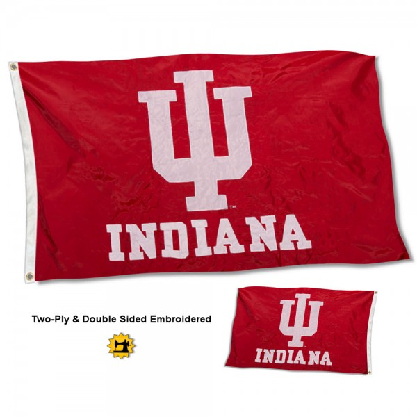 Indiana University Flag measures 3'x5' in size, is made of 2 layer embroidered 100% nylon, has quadruple stitched fly ends for durability, and is viewable and readable correctly on both sides. Our Indiana University Flag is officially licensed by the university, school, and the NCAA