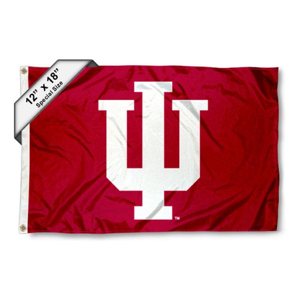 Indiana University Mini Flag is 12x18 inches, polyester, offers quadruple stitched flyends for durability, has two metal grommets, and is double sided. Our mini flags for Indiana University are licensed by the university and NCAA and can be used as a boat flag, motorcycle flag, golf cart flag, or ATV flag