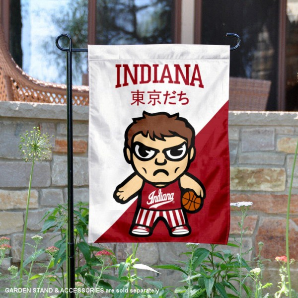 Indiana University Tokyodachi Mascot Yard Flag is 13x18 inches in size, is made of double layer polyester, screen printed university athletic logos and lettering, and is readable and viewable correctly on both sides. Available same day shipping, our Indiana University Tokyodachi Mascot Yard Flag is officially licensed and approved by the university and the NCAA.