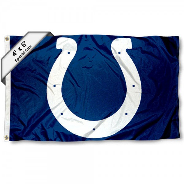 Indianapolis Colts 4x6 Flag measures a large 4x6 feet, is made polyester, has quadruple stitched flyends, two metal grommets, and offers screen printed NFL Indianapolis Colts logos and insignias. Our Indianapolis Colts 4x6 Foot Flag is NFL Officially Licensed and Indianapolis Colts approved.