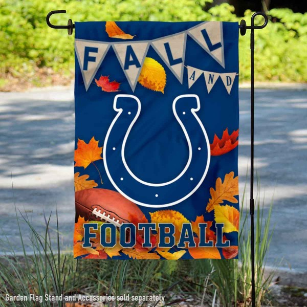 Indianapolis Colts Fall Football Leaves Decorative Double Sided Garden Flag is 12.5x18 inches in size, is made of 2-ply polyester, and has two sided screen printed logos and lettering. Available with Express Next Day Ship, our Indianapolis Colts Fall Football Leaves Decorative Double Sided Garden Flag is NFL Officially Licensed and is double sided.