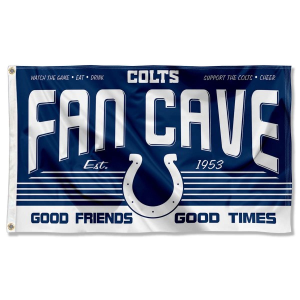 Our Indianapolis Colts Fan Cave Flag Large Banner is double sided, made of poly, 3'x5', has two metal grommets, indoor or outdoor, and four-stitched fly ends. These Indianapolis Colts Fan Cave Flag Large Banners are Officially Approved by the Indianapolis Colts.